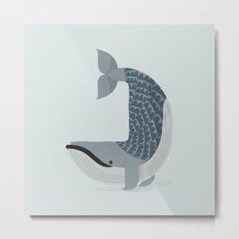 Whimsical Blue Whale Metal Print