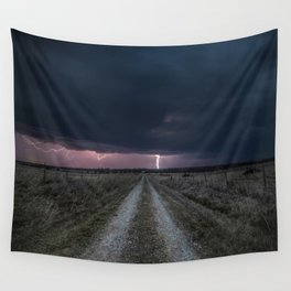 Darkness Falls - Lightning Strikes Down a Country Road at Night Wall Tapestry