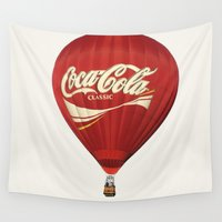 hot air balloon Wall Tapestries featuring Coca-Cola Hot Air Balloon by The Zachary Bee