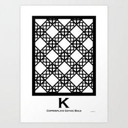 LETTERNS - K - Copperplate Art Print