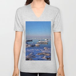 Field of Ice on the Sea Unisex V-Neck
