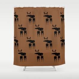 Brown Moose Pattern Shower Curtain