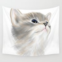 kitten Wall Tapestries featuring Kitten by Veronica Ventress