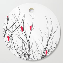 Artistic Bright Red Birds on Tree Branches Cutting Board