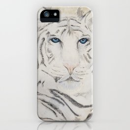 Original Art - White Tiger Original Painting (highly textured)  #white iPhone Case