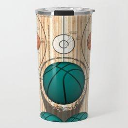Colorful Green basketballs on a Basketball Court Travel Mug