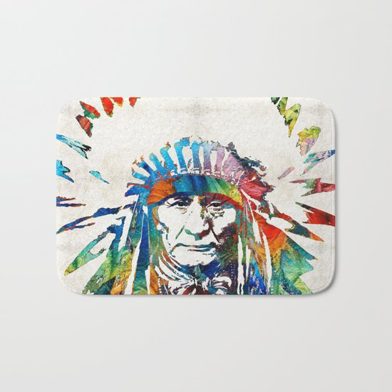 Native American Art - Chief - By Sharon Cummings Bath Mat