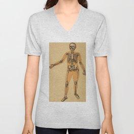 Vintage Human Skeleton Illustration (1887) Unisex V-Neck
