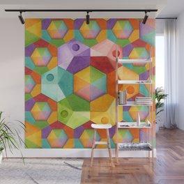 Rainbow Hexagons Wall Mural