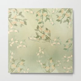 Sage Green Watercolor Woodland Leaves Metal Print