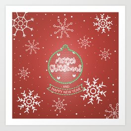 New Year Christmas winter holidays cute outline pattern Art Print