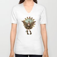 steam punk V-neck T-shirts featuring Steam Punk Pilot Faery by Hafapea