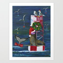 Christmas Seal and Friends Art Print