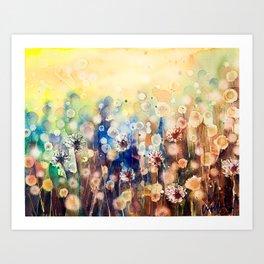 Watercolor Happy Dandelions  Art Print