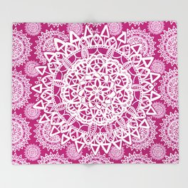 Pink and White Patterned Mandala Textile Throw Blanket