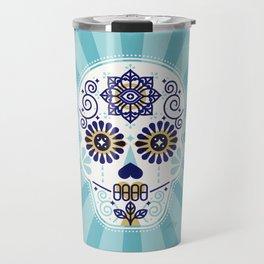 Día de Muertos • Mexican Sugar Skull – Baby Blue Palette Travel Mug