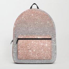 Modern trendy rose gold glitter ombre silver glitter Backpack