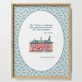 Jane Austen house and quote Serving Tray