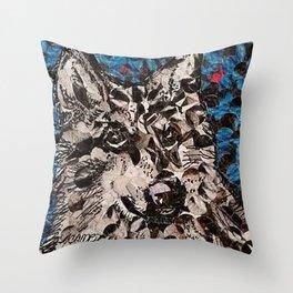 """"""" Wolf Hole Punch Art """" Throw Pillow"""