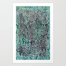 Snow Pines (Green) Art Print