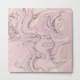 Pastel Pink Gold Faux Glitter Marble Metal Print