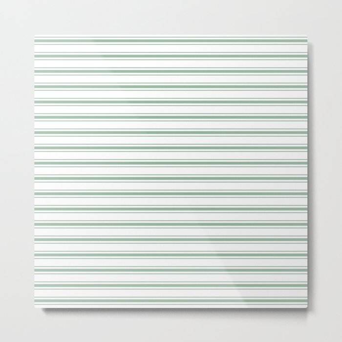 Mattress Ticking Wide Striped Pattern in Moss Green and White Metal Print