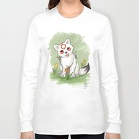 okami Long Sleeve T-shirts featuring Okami Chibiterasu by Brandy Woods