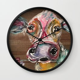 Gorgeous Cow on Wood Wall Clock