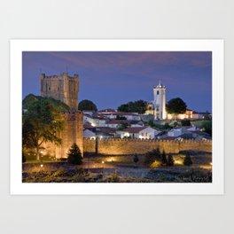 Braganca castle at dusk, Portugal Art Print