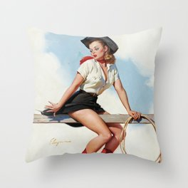 Pin Up Girl Cowgirl with Lasso Throw Pillow