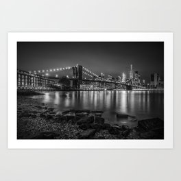 Nightly Stroll along the East River | Monochrome Art Print