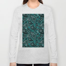 Teal Green Paisley Pattern Long Sleeve T-shirt