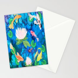 Koi Fish alcohol ink Stationery Cards