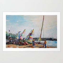 Launching catamaran in Cros de Cagnes Art Print