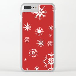 Red Winter Dream #2 #snowflakes #decor #art #society6 Clear iPhone Case