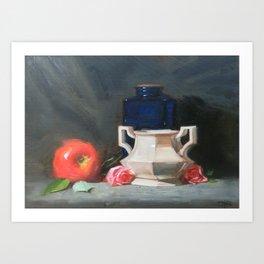 Blue Bottle with Apple Art Print