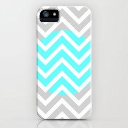 Aqua Gray White Chevron Stripes iPhone Case