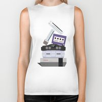 nintendo Biker Tanks featuring Nintendo Consoles by Michael Walchalk