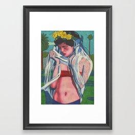 Sad Veil Bride Framed Art Print