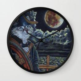Sea Captain Cat Wall Clock