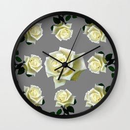 WHITE ROSES GARDEN DESIGN Wall Clock