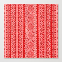 Ukrainian embroidery red and white Canvas Print
