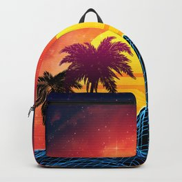 Sunset Vaporwave landscape with rocks and palms Backpack