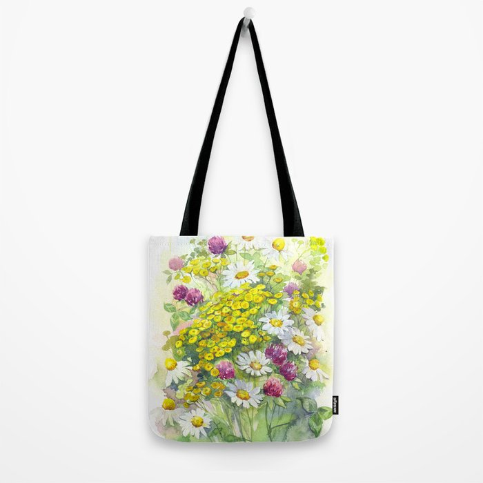 Watercolor meadow flowers spring Tote Bag
