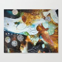 """flora bowley Canvas Prints featuring """"Two Hearts"""" Original Painting by Flora Bowley by Flora Bowley"""