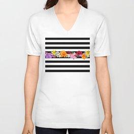 flowers on black and white stripes Unisex V-Neck