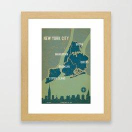 NYC Boroughs in Navy Blue Framed Art Print