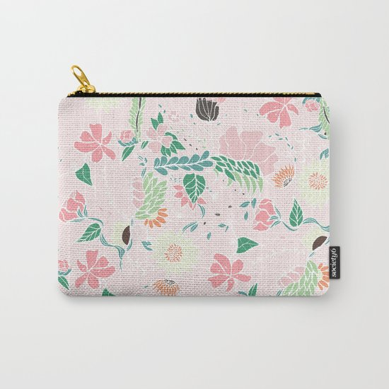 Modern pastel floral handdrawn blush pink illustration Carry-All Pouch