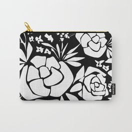 Black and white stencil flower Carry-All Pouch