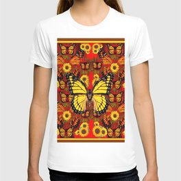 COFFEE BROWN MONARCH BUTTERFLY SUNFLOWERS T-shirt